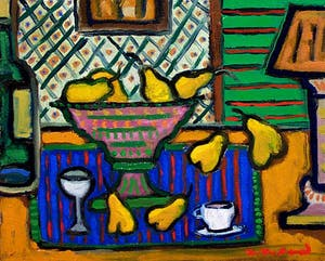 Yellow Pears and Blue