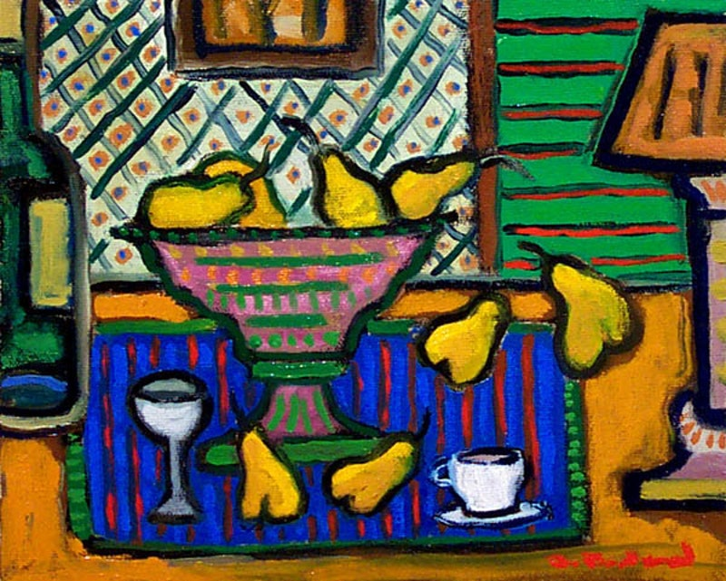 Yellow Pears and Blue Image 1