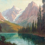 Emerald Lake by Roland Gissing, 1945 oil - (25x30 in)