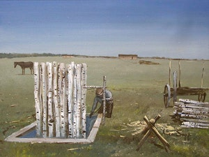 Making Fenceposts on Sweetgrass Reserve