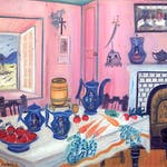 Dining Room Interior by Simone-Mary Bouchard, 1940 oil on canvas - (14.75x18.75 inch)
