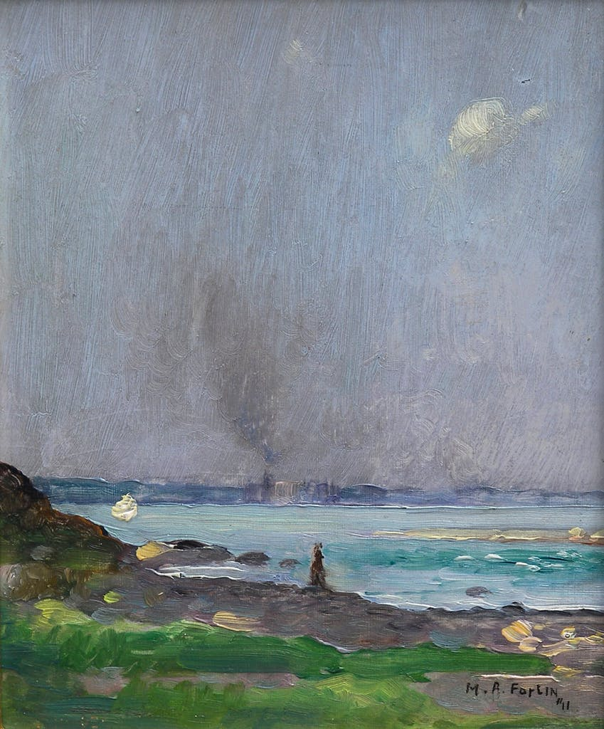 Untitled by Marc Aurele Fortin, 1911 oil on panel - (6.5x5.5 inch)