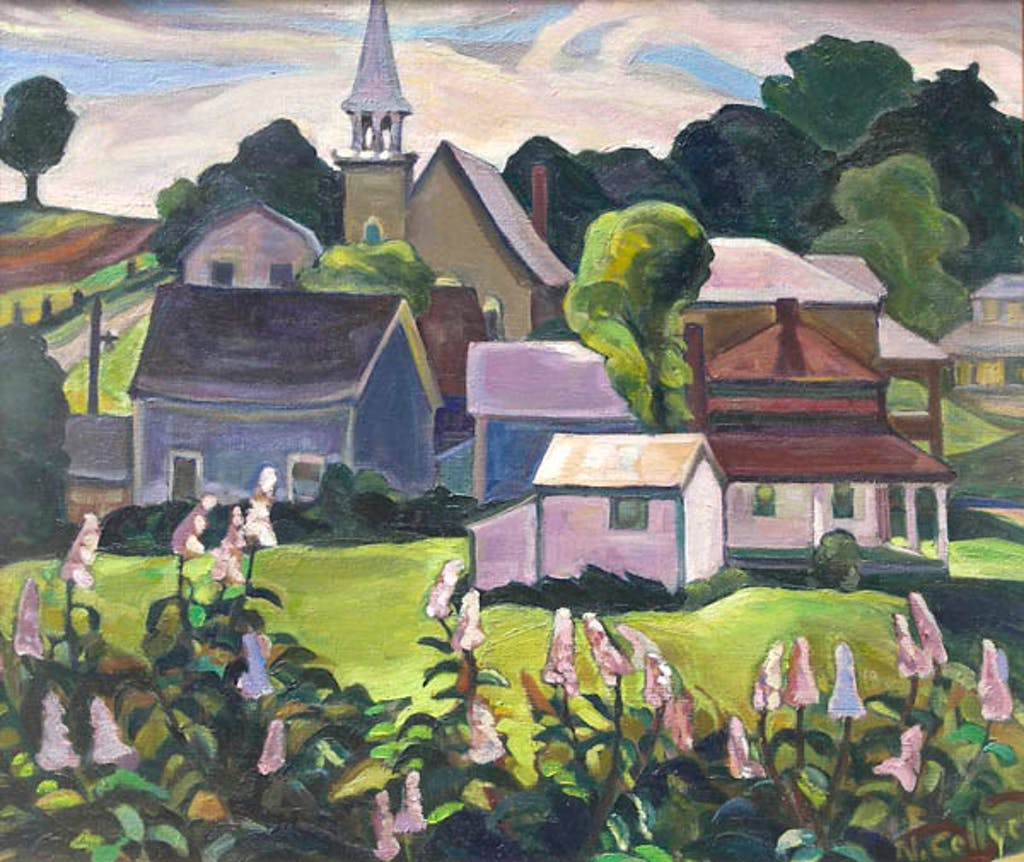 Country Village by Nora Collyer oil on canvas - (23.5x27.5 inch)