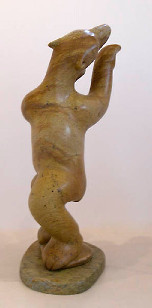 Dancing Bear by Abraham Anghik Ruben, 2006 soapstone - (25x12x10 inch)