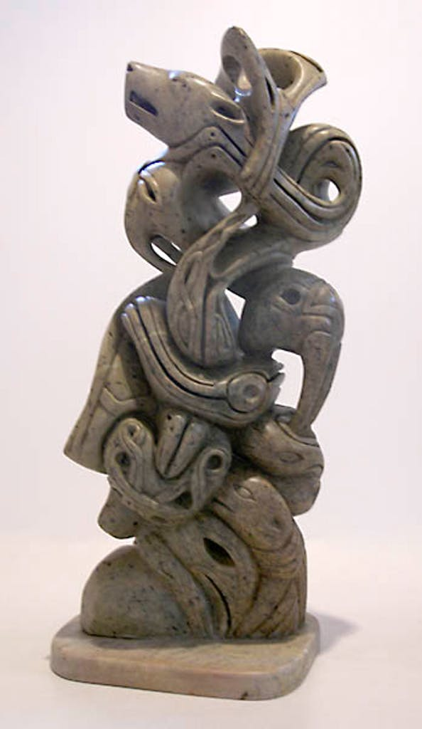 Ancient Voices by Abraham Anghik Ruben, 2006 soapstone - (27.25x11.5x8.5 inch)
