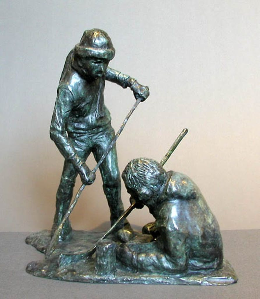 The Skirmish by Armand Paquette, 1991 bronze - (12x10x8.5 inch)