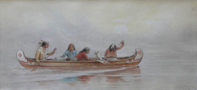 Canoe on Misty River Image 1