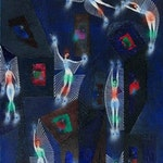 Music Hall by Alfred Pellan, 1960 oil - (30x19 in)