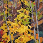 Autumn Woods by Franklin Carmichael, 1925 oil on panel - (12x9.75 in)