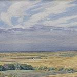 Untitled Prairie Scene by Ernest Lindner, 1940 watercolour - (14x21 in)