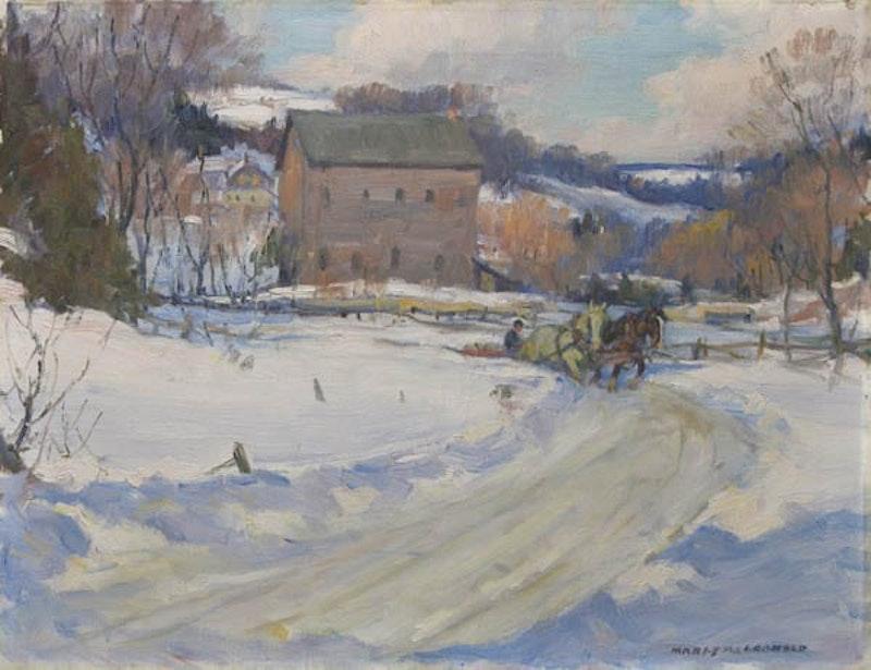Horse Drawn Sleigh outside a Village