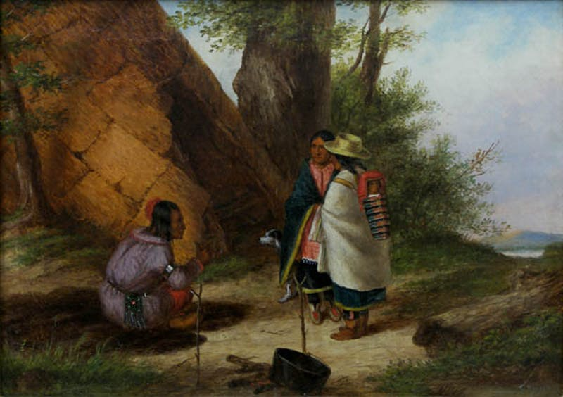 Indians Meeting by a Teepee Image 1