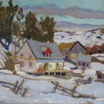 Laurentian Homestead by Randolph S. Hewton, 1938 oil on canvas - (12.25x14 in)