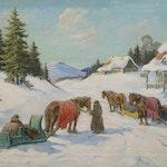 A Laurentian Wayside Inn by Paul A. Caron, 1937 oil on canvas - (20x26 in)
