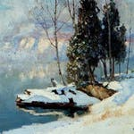 Comandants Point - Lac Tremblant by Maurice Cullen, 1922 oil on canvas - (24.5x32.5 in)