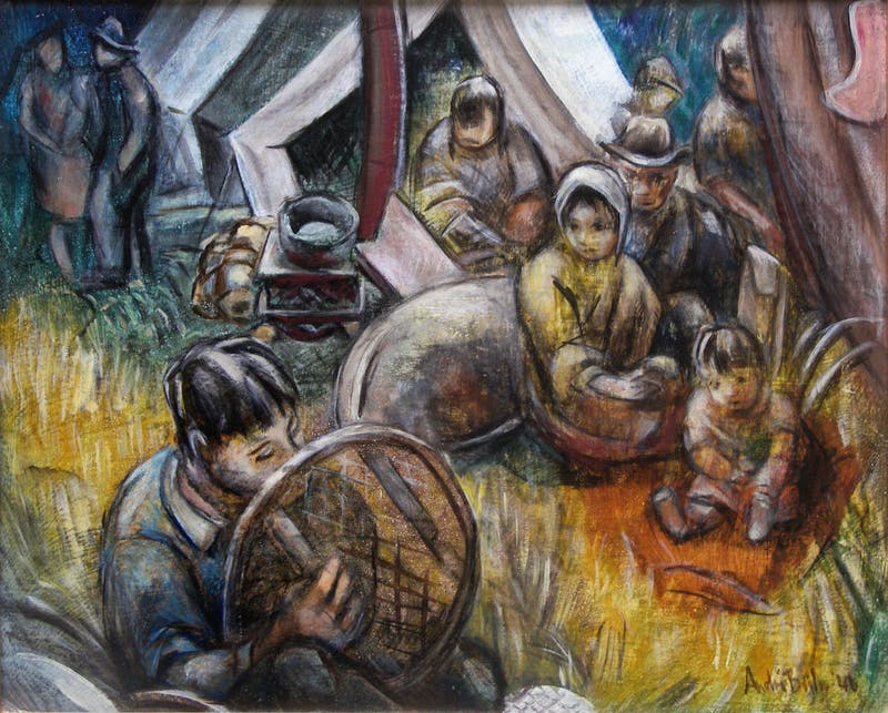 Making Snowshoes, Montagnais Indians Image 1