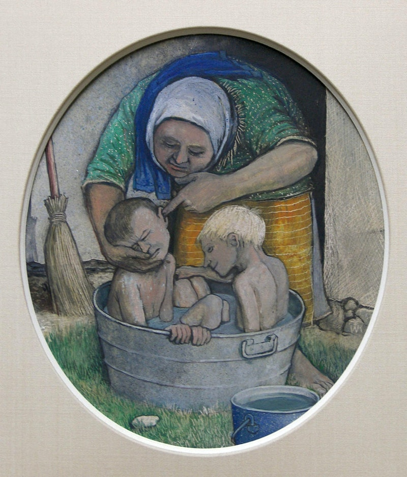 Mother Bathing 2 Boys in Washtub Outdoors