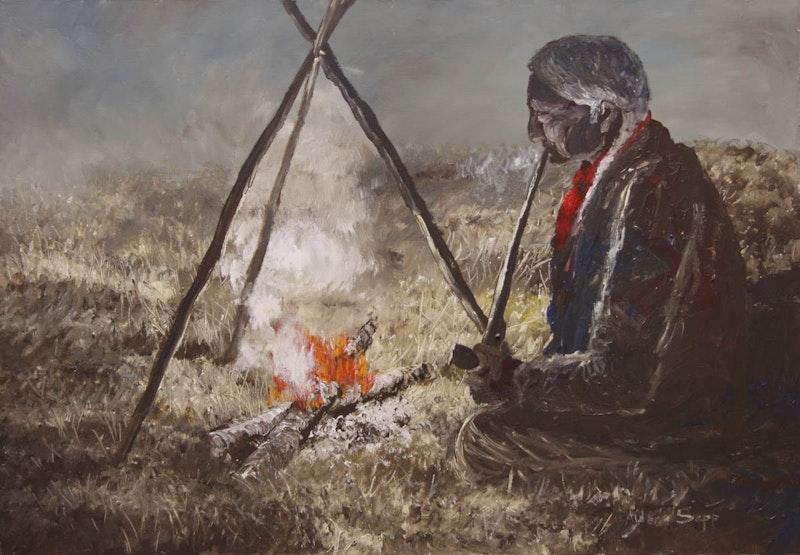 Old Man Smoking Pipe Image 1
