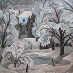 Blue Ice Lake Wonish by Anne Savage, 1935 oil on canvas - (36x40 in)