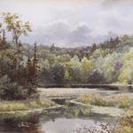 Lake of The Woods by Lucius R. O'Brien, 1890 watercolour - (14.75x21 in)