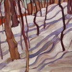 Trees and Snow Shadows by Pegi Nicol MacLeod, 1930 oil on panel - (10.75x12 in)