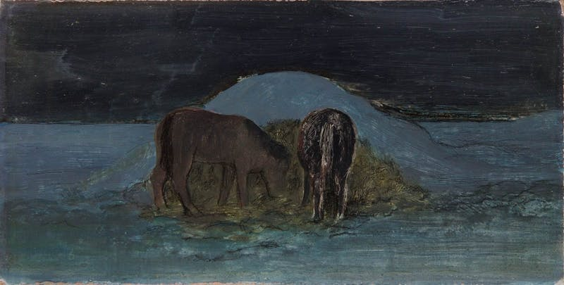 Horses Under Straw Pile On Winter Night Image 1