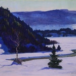 March, Quebec by Robert Pilot, 1940 oil on canvas - (18x24 in)