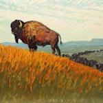 Buffalo Sunset by Robert Lougheed, 1940 oil - (12x16 in)