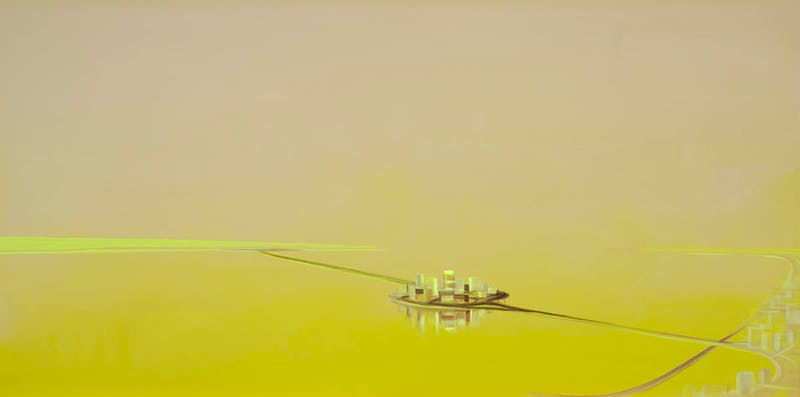 Floating City - Glowing Yellow Green