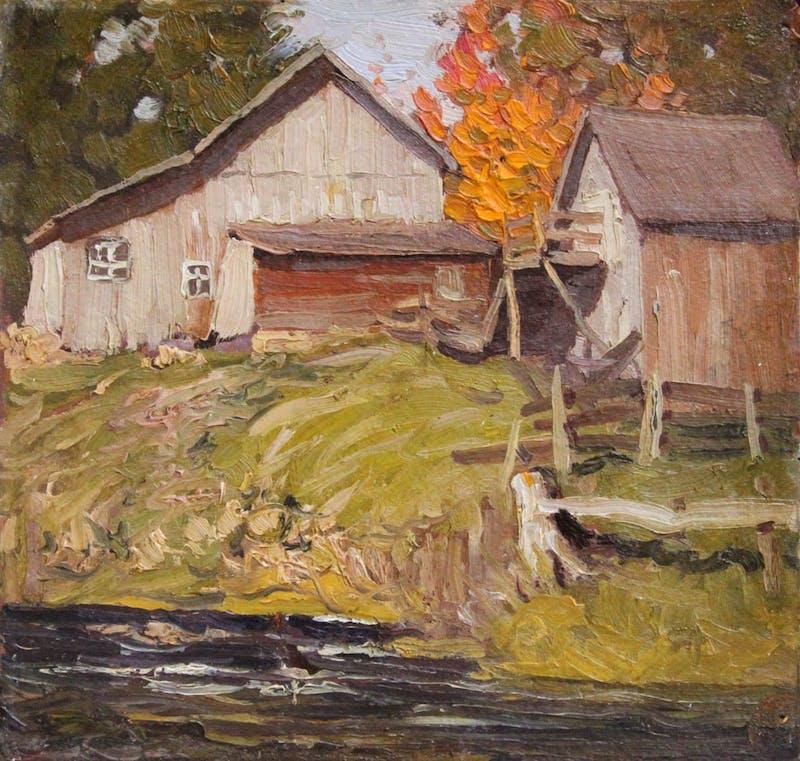 Farm Buildings by a Stream