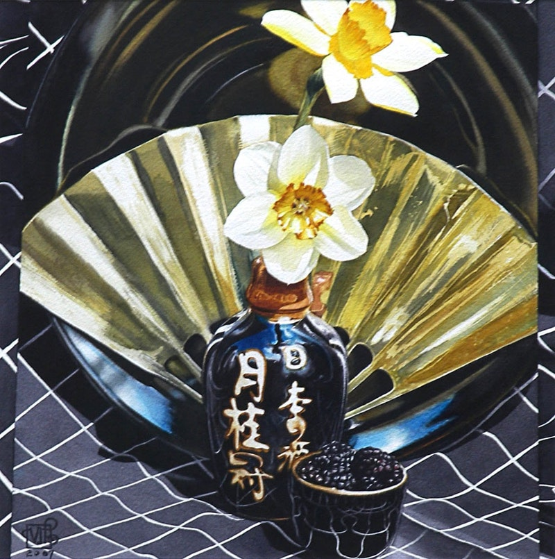 Brass Fan with Blackberries