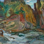 Cheakamus Gorge Near Lynn Valley by Frederick Varley, 1929 oil on panel - (12x15 in)