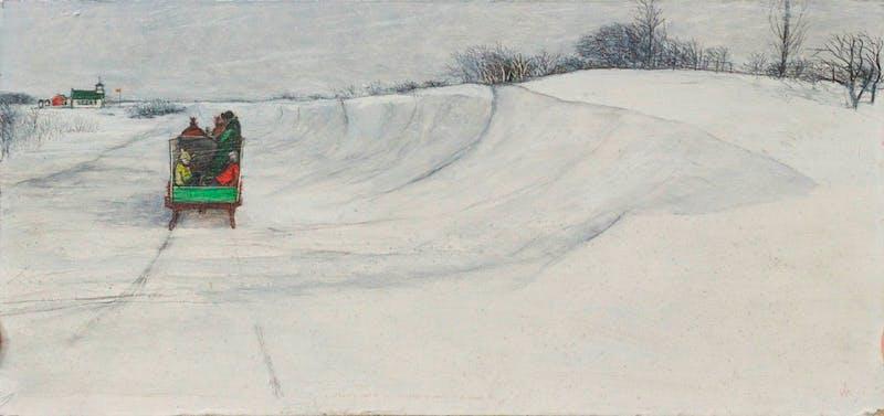 Prairie Farmer takes Children to School in Prairie Blizzard Image 1