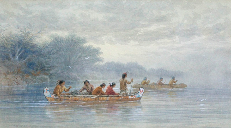 Untitled (Natives Canoeing the River) Image 1