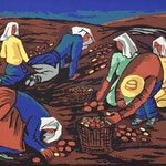 Potato Pickers by Fritz Brandtner, circa 1943 Sampson-Matthews Silkscreen - (30x40 in)