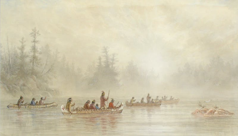 Indians Paddling on a Misty Lake