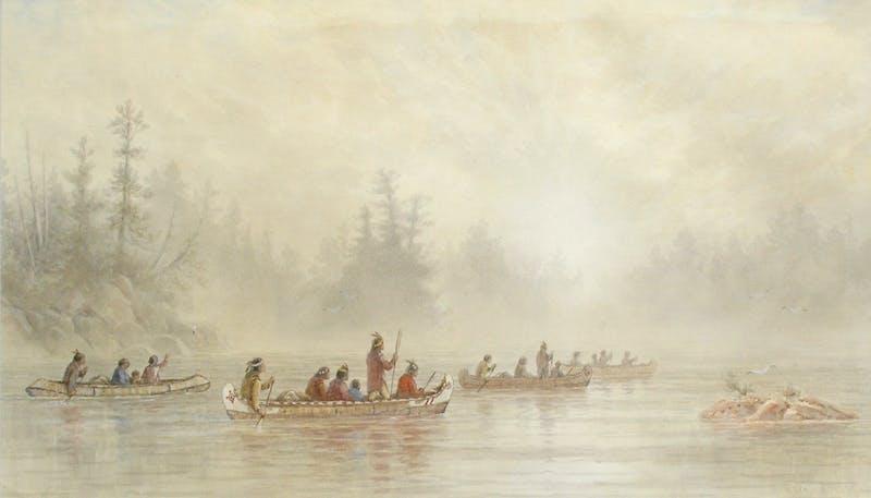 Indians Paddling on a Misty Lake Image 1