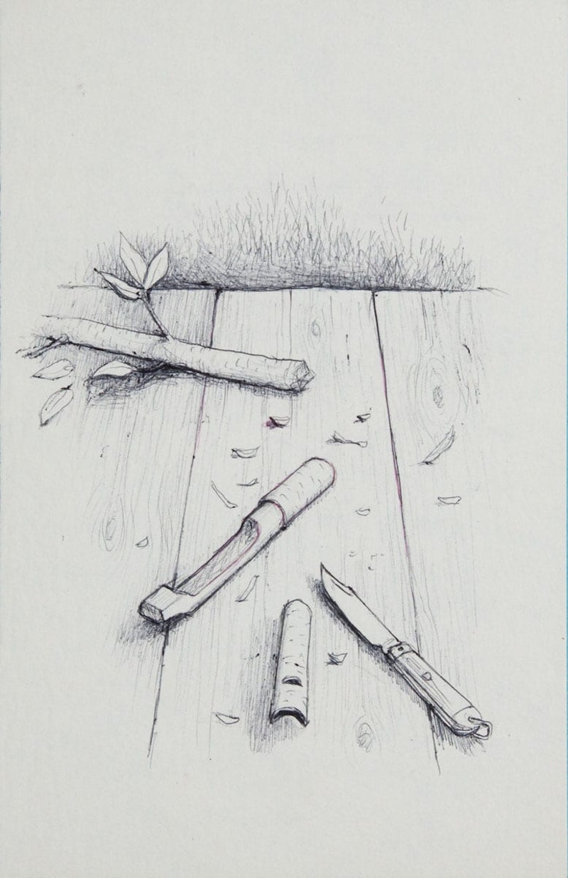 Pen Knife with Wittled Pieces of Tree