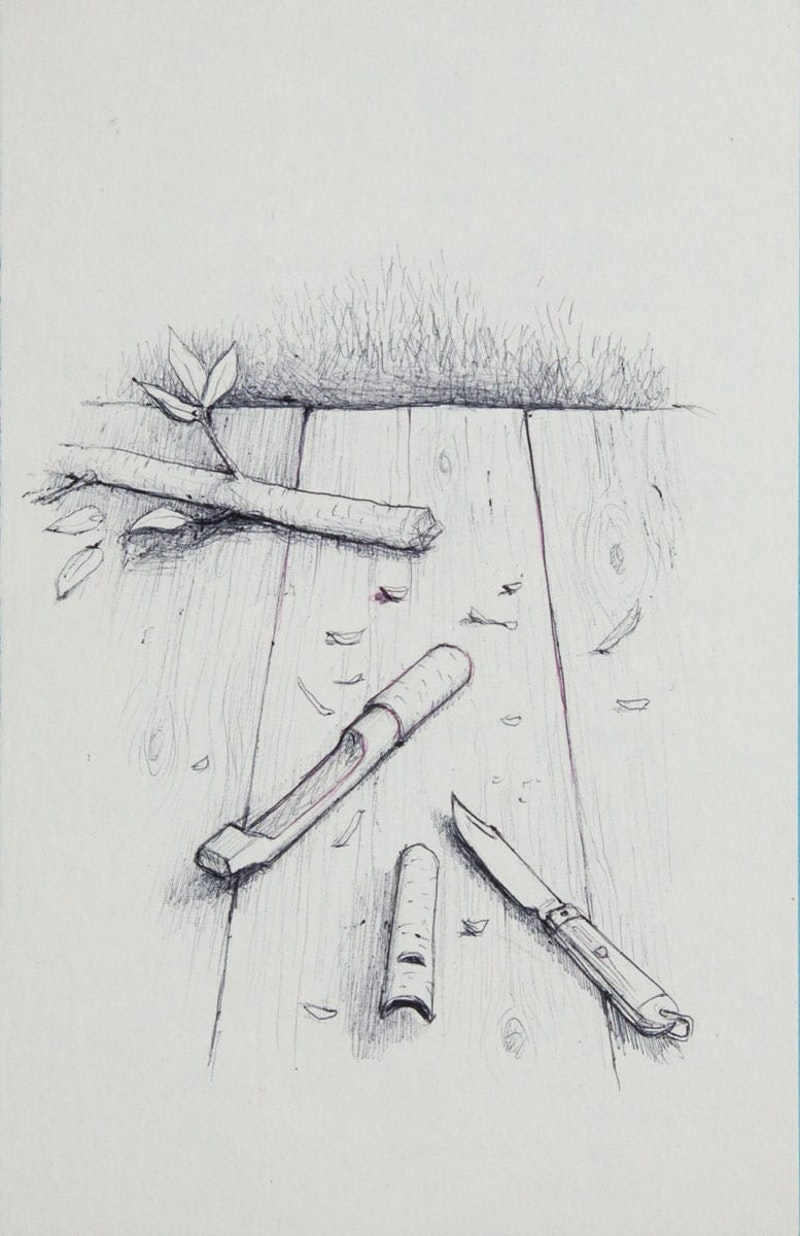Pen Knife with Wittled Pieces of Tree Image 1