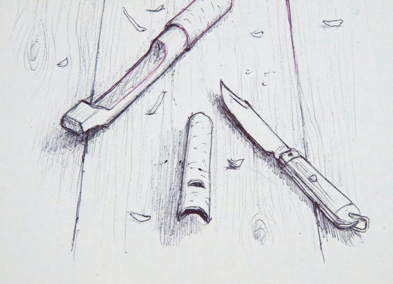 Pen Knife with Wittled Pieces of Tree Image 2
