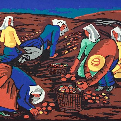 Potato Pickers by Fritz Brandtner, circa 1944 Sampson-Matthews Silkscreen - (30x40 in)