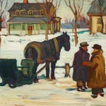 Winter - Berthierville, Quebec by Kathleen Morris, circa 1932 Oil on Canvas - (18x20 in)
