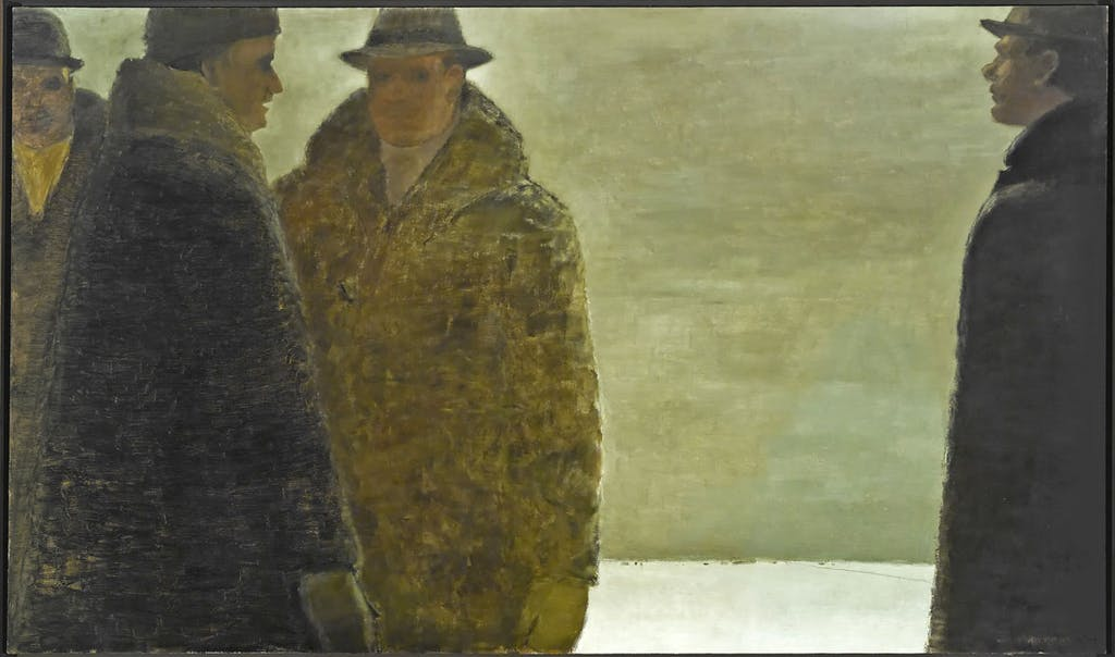 La Conversation by Jean Paul Lemieux, 1968 oil on canvas - (41x67 inch)