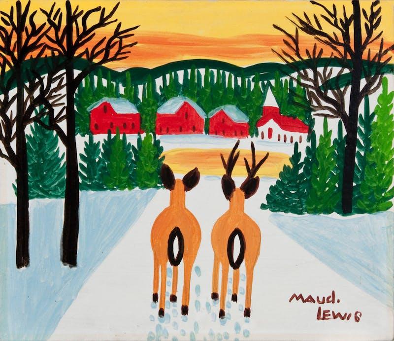 Deer Overlooking Village (Deer Pair and Village at Sunset) Image 2