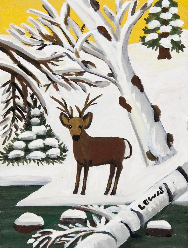 Deer in Winter (Buck at Waters Edge) Image 1