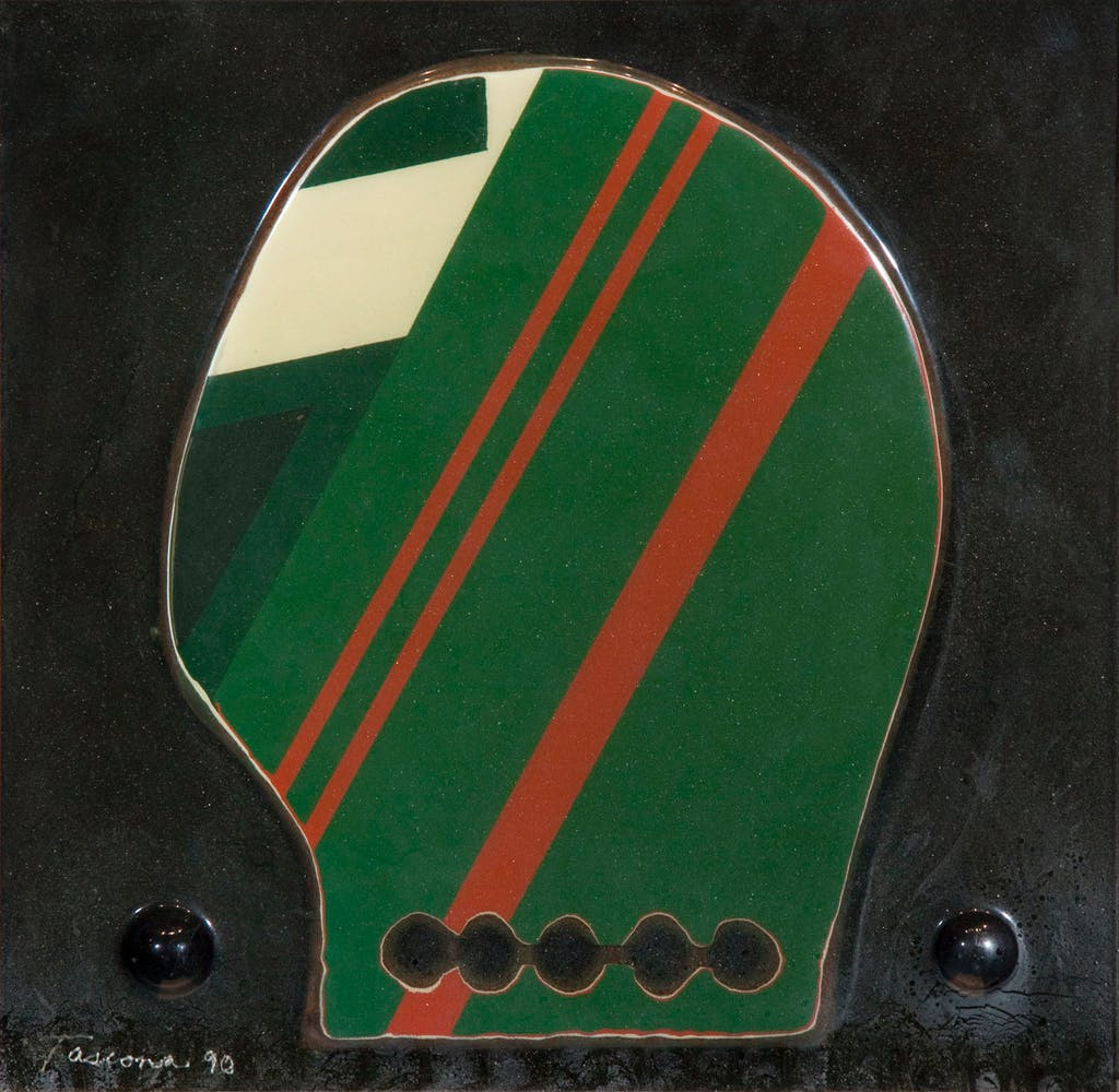 Portrait by Tony Tascona, 1990 Resin on Aluminum - (14x14 in)
