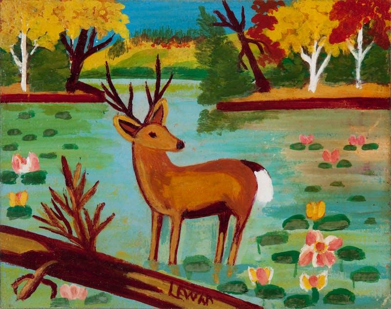 Deer Standing in the Water, (Buck among Waterlilies) Image 2