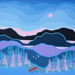 Forest Portage by Ted Harrison, 1984 acrylic on canvas - (24x36 in)
