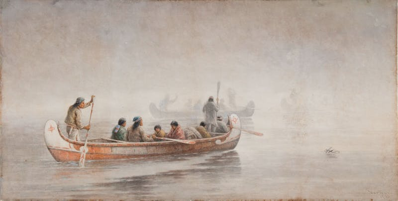 Indians in Canoes Image 1