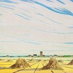 Haystacks by Robert N. Hurley, 1956 Watercolour - (10x14 in)